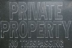 Old vintage private property no trespassing sign Stock Image