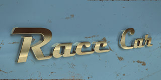 Old vintage race car chrome typography stock photography