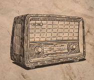 Old vintage radio. Sketch drawing  on crumpled paper texture Royalty Free Stock Image