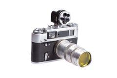 Old vintage rangefinder camera. Isolated on white background Stock Photo