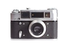 Old vintage rangefinder camera. Isolated on white background Stock Images