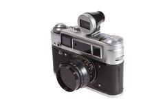 Old vintage rangefinder camera. Isolated on white background Stock Images
