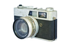 Old vintage rangefinder camera against white background. Clipping path included to replace background Royalty Free Stock Photo