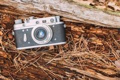 Old Vintage Rangefinder Camera, 1950-1960s. Royalty Free Stock Images