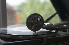 Old vintage gramophone. Close-up. Old vintage record player vinyl records gramophone phonograph Stock Photos