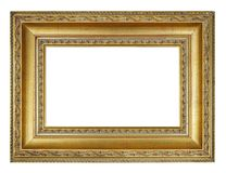 Old vintage rectangle golden frame. On a white background, isolated Stock Photo