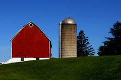 Old vintage red barn and silo Royalty Free Stock Image