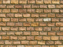 Old vintage red brick wall fragment background texture. Close up Royalty Free Stock Photos