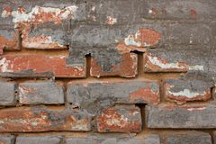 Old Vintage Red Brick Wall With Sprinkled Gray Cement Plaster Texture Background. Copy Space stock photography