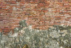 Old Vintage Red Brick Wall With Sprinkled White Plaster Royalty Free Stock Image