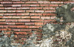 Old Vintage Red Brick Wall With Sprinkled White Plaster Royalty Free Stock Photo