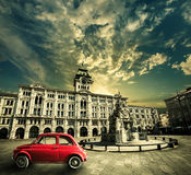 Old vintage red car, Historical retro scene. Trieste, Italy. Stock Images