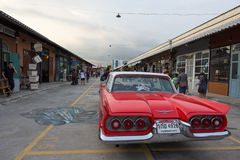 Old vintage red car at Night market, Srinakarin road, Thailand Royalty Free Stock Image