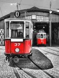 Old and vintage red tram Stock Photos