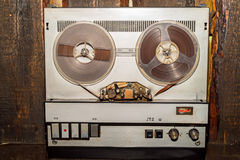 Old vintage reel tape recorder Royalty Free Stock Images