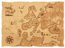 Old Vintage Retro Ancient Map Antique Geography Background Vector Illustration. Royalty Free Stock Photos
