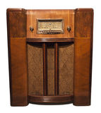 Old Vintage Retro Antique Radio Isolated on White stock image