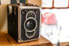 Old Vintage Retro Box Camera staying at the left side royalty free stock images