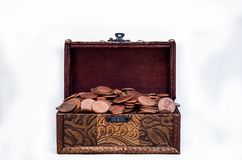 Old vintage retro chest with euro coins isolated on white background Royalty Free Stock Photography
