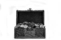 Old vintage retro chest with euro coins isolated on white background Stock Photography