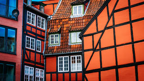 Old vintage retro colorful houses in in old part of town in Copenhagen Stock Photography