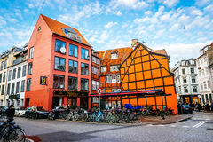 Old vintage retro colorful houses in in old part of town in Copenhagen royalty free stock image