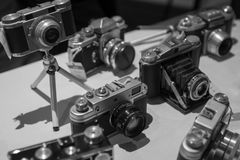 Old Vintage Retro Film Cameras in Black and White stock photography