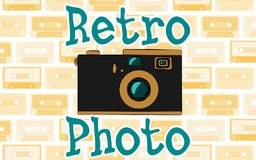 Old vintage retro hipster antique camera and an inscription retro photo from the 70`s, 80`s, 90`s against the background rays vector illustration