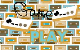 Old vintage retro hipster antique game controller gameplay 70`s, 80`s, 90`s on a background audio cassettes. Vector illustration. Old vintage retro hipster royalty free illustration