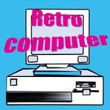 An old vintage retro hipster antique gaming desktop computer 70`s, 80`s, 90`s. Vector illustration royalty free illustration