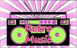 Old vintage retro hipster stylish music audio tape recorder for audiocassettes of the 70`s, 80`s, 90`s. And an inscription retro music. The background. Vector vector illustration