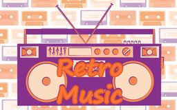 Old vintage retro hipster stylish music audio tape recorder for audiocassettes of the 70`s, 80`s, 90`s. And an inscription retro music. The background. Vector royalty free illustration