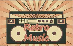 Old vintage retro hipster stylish music audio tape recorder for audiocassettes of the 70`s, 80`s, 90`s and an inscription retro. Music. The background. Vector stock illustration