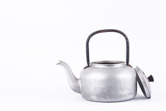 Old vintage retro Kettle on white background drink isolated  water boiler . Which, kettle made of aluminum materials. Royalty Free Stock Photos