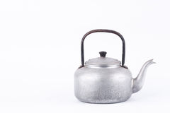 Old vintage retro Kettle on white background drink isolated . Which, kettle made of aluminum materials. Royalty Free Stock Images