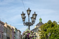 Old vintage retro lamp in Lviv   Royalty Free Stock Photo