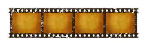 Old vintage retro 35 mm film strip frames. Close up four frames of old vintage grunge retro styled classical 35 mm film strip isolated on white background Royalty Free Stock Image