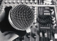 Old vintage retro style microphone stock photos