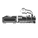 Old vintage retro train steam powered locomotive hipster logotype log Stock Images