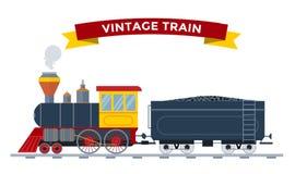 Old vintage retro transportation train vector Stock Photography