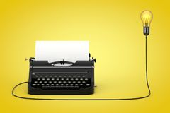Old Vintage Retro Typewriter Connected to Creative Idea Light Bu. Lb on a yellow background. 3d Rendering royalty free illustration
