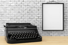 Old Vintage Retro Typewriter in front of Brick Wall with Blank F Stock Photo