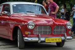 LVIV, UKRAINE - JUNE 2018: Old vintage retro Volvo car rides through the streets of the city. Old vintage retro Volvo car rides through the streets of the city Royalty Free Stock Photography