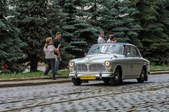 LVIV, UKRAINE - JUNE 2018: Old vintage retro Volvo car rides through the streets of the city. Old vintage retro Volvo car rides through the streets of the city royalty free stock photo