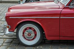 LVIV, UKRAINE - JUNE 2018: Old vintage retro Volvo car rides through the streets of the city. Old vintage retro Volvo car rides through the streets of the city Stock Images