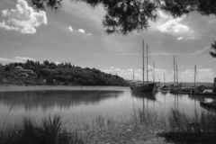 Old vintage retro wooden fishing boats in seca, slovenia royalty free stock photo