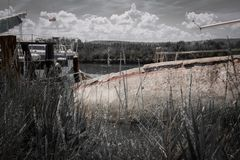 Old vintage retro wooden fishing boats in seca, slovenia royalty free stock photography
