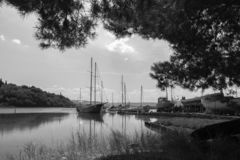 Old vintage retro wooden fishing boats in seca, slovenia royalty free stock image