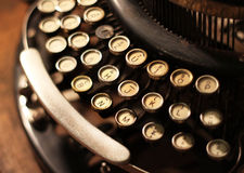 Old vintage retro wooden typewriter Stock Photos