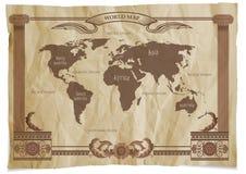 Old Vintage Retro World Map. Vector illustration Stock Image